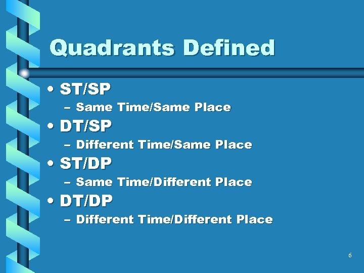 Quadrants Defined • ST/SP – Same Time/Same Place • DT/SP – Different Time/Same Place