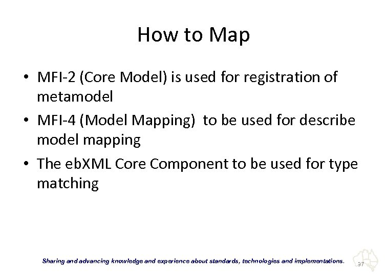 How to Map • MFI-2 (Core Model) is used for registration of metamodel •