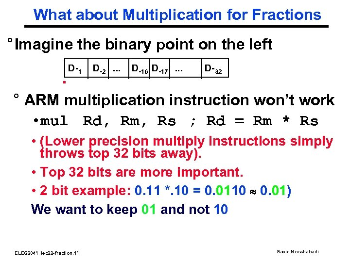 What about Multiplication for Fractions ° Imagine the binary point on the left .