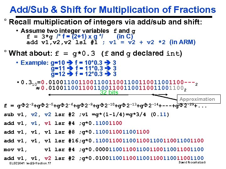 Add/Sub & Shift for Multiplication of Fractions ° Recall multiplication of integers via add/sub