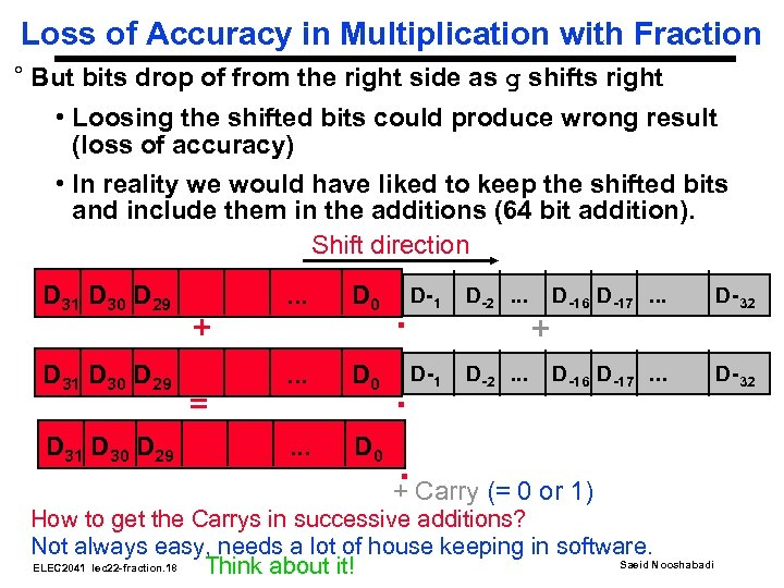 Loss of Accuracy in Multiplication with Fraction ° But bits drop of from the