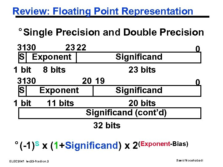 Review: Floating Point Representation ° Single Precision and Double Precision 3130 23 22 S