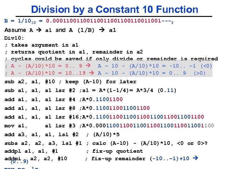 Division by a Constant 10 Function B = 1/1010 = 0. 00011001100110011001 ---2 Assume