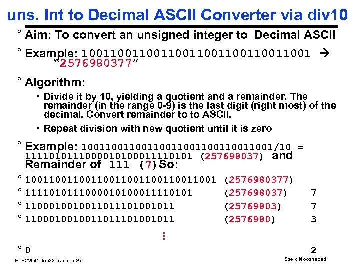 uns. Int to Decimal ASCII Converter via div 10 ° Aim: To convert an