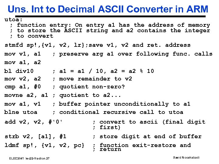 Uns. Int to Decimal ASCII Converter in ARM utoa: ; function entry: On entry