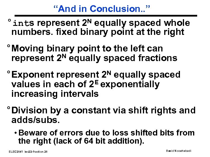"""""""And in Conclusion. . """" °ints represent 2 N equally spaced whole numbers. fixed"""
