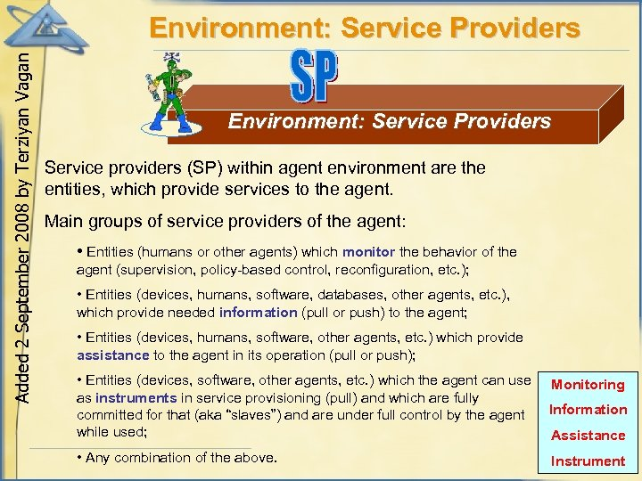 Added 2 September 2008 by Terziyan Vagan Environment: Service Providers Service providers (SP) within