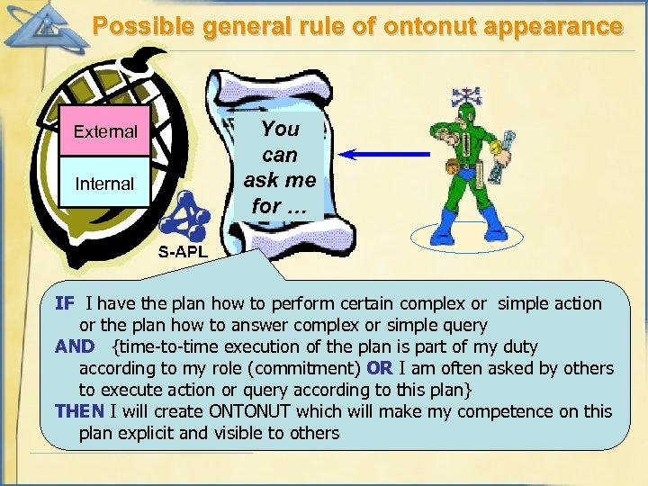 Possible general rule of ontonut appearance External Internal You can ask me for …