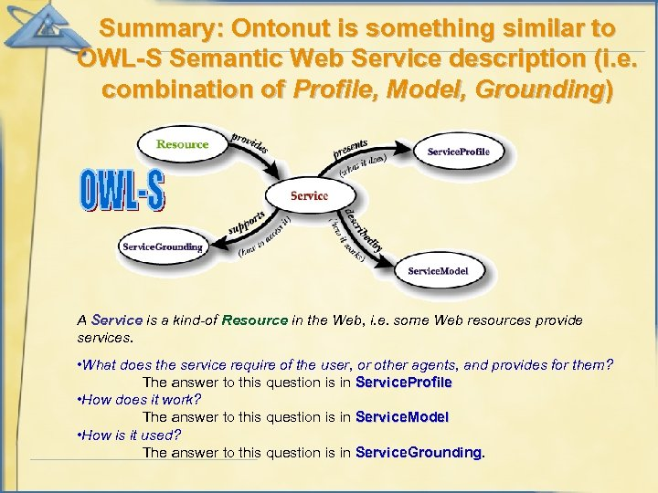 Summary: Ontonut is something similar to OWL-S Semantic Web Service description (i. e. combination