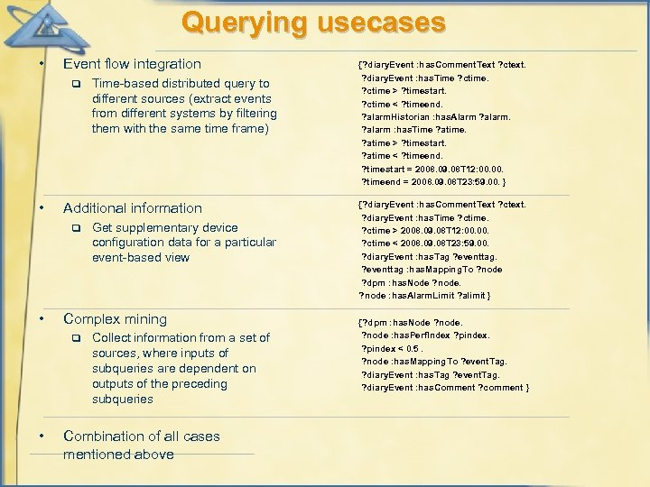 Querying usecases • Event flow integration q • Additional information q • Get supplementary