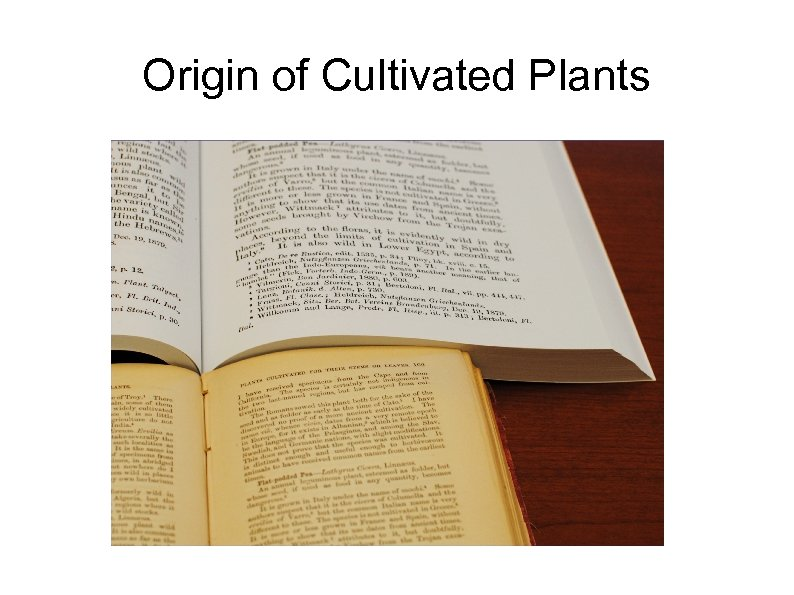 Origin of Cultivated Plants