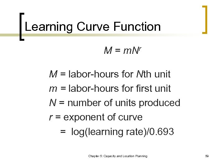 Learning Curve Function M = m. Nr M = labor-hours for Nth unit m