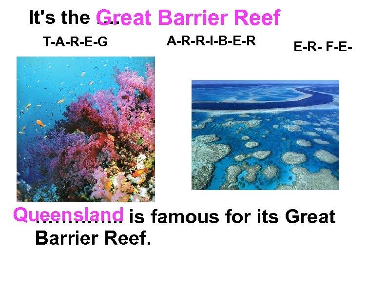 It's the …. . Great Barrier Reef T-A-R-E-G A-R-R-I-B-E-R E-R- F-E- Queensland …………. .