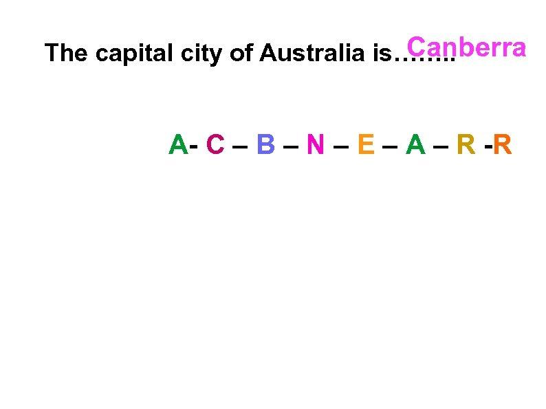 Canberra The capital city of Australia is……. . A- C – B – N