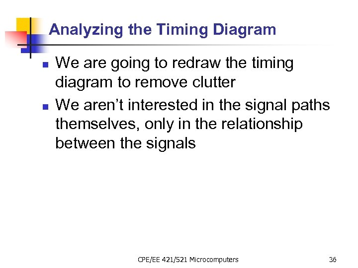 Analyzing the Timing Diagram n n We are going to redraw the timing diagram