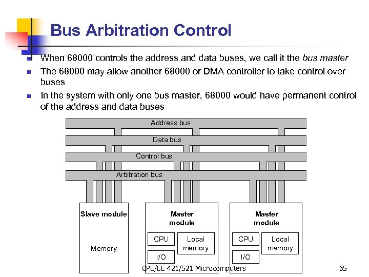 Bus Arbitration Control n n n When 68000 controls the address and data buses,