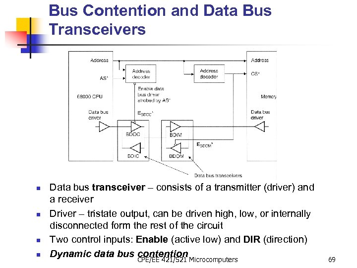 Bus Contention and Data Bus Transceivers n n Data bus transceiver – consists of