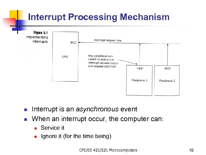 Interrupt Processing Mechanism n n Interrupt is an asynchronous event When an interrupt occur,