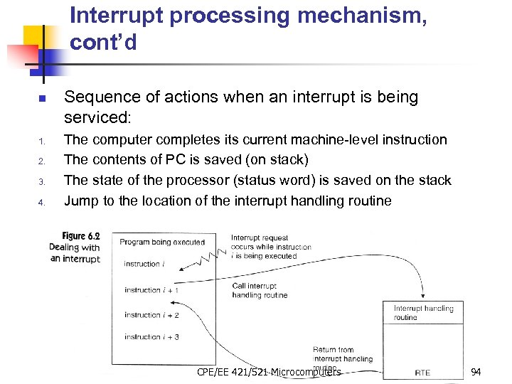 Interrupt processing mechanism, cont'd n 1. 2. 3. 4. Sequence of actions when an