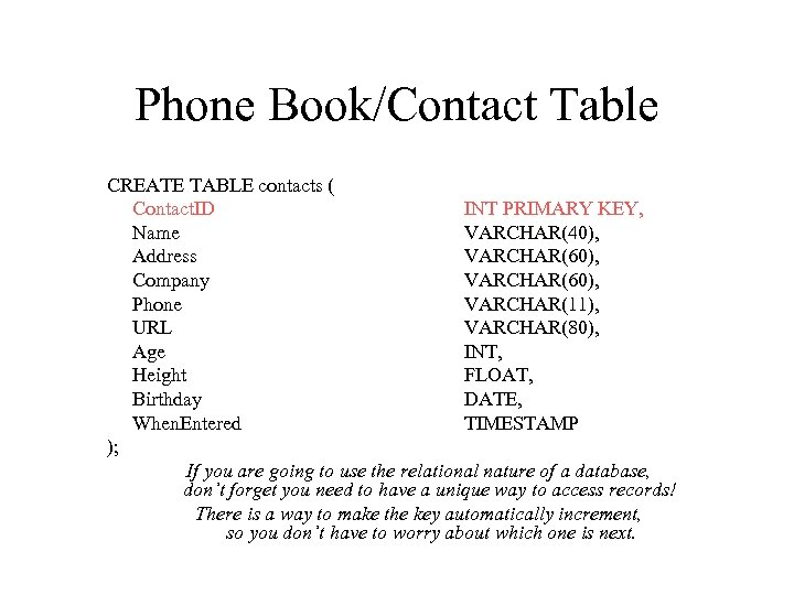 Phone Book/Contact Table CREATE TABLE contacts ( Contact. ID INT PRIMARY KEY, Name VARCHAR(40),