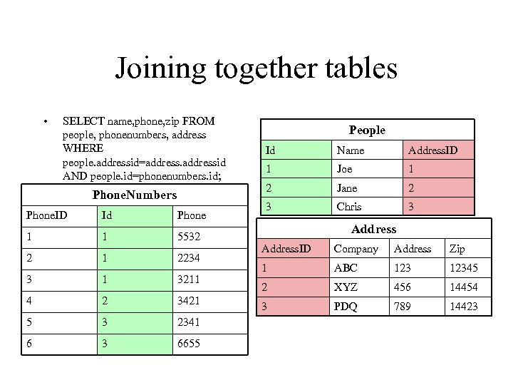 Joining together tables • SELECT name, phone, zip FROM people, phonenumbers, address WHERE people.