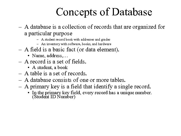 Concepts of Database – A database is a collection of records that are organized