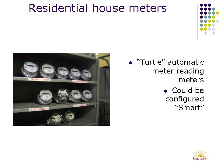 """Residential house meters l """"Turtle"""" automatic meter reading meters l Could be configured """"Smart"""""""