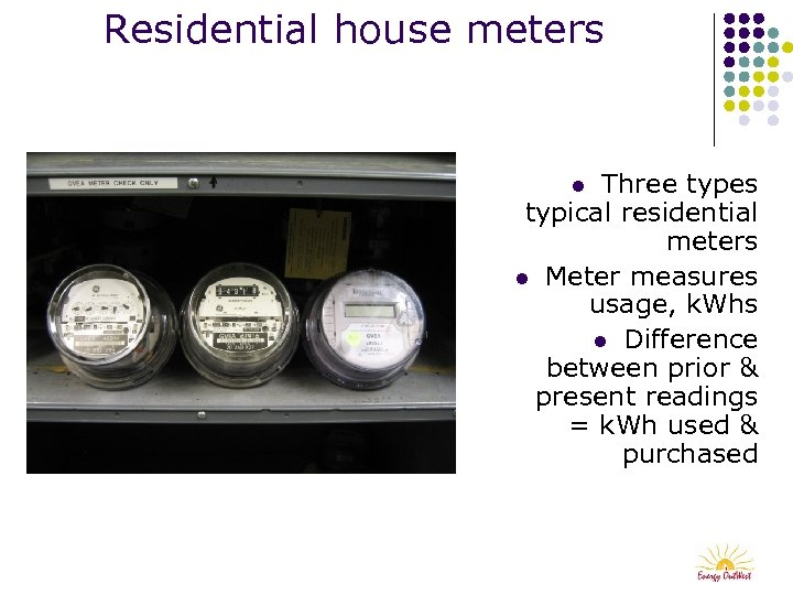 Residential house meters Three types typical residential meters l Meter measures usage, k. Whs