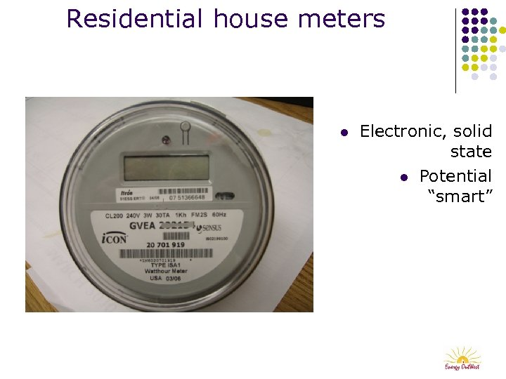 "Residential house meters l Electronic, solid state l Potential ""smart"""