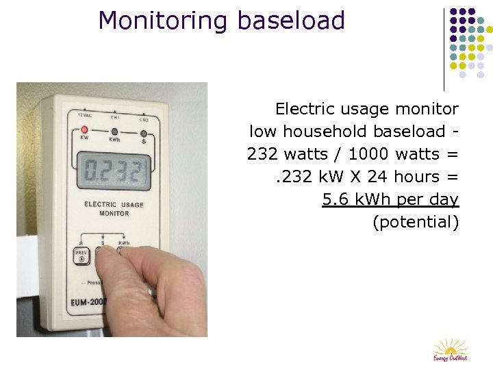 Monitoring baseload Electric usage monitor low household baseload 232 watts / 1000 watts =.