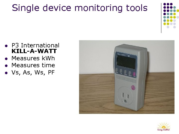 Single device monitoring tools l l P 3 International KILL-A-WATT Measures k. Wh Measures
