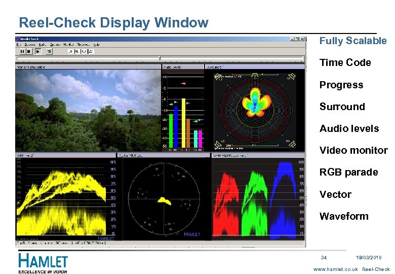 Reel-Check Display Window Fully Scalable Time Code Progress Surround Audio levels Video monitor RGB