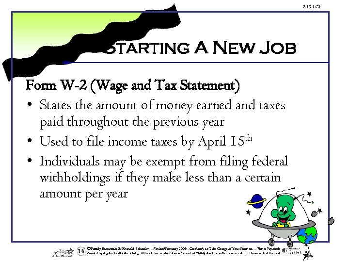 2. 13. 1. G 1 Starting A New Job Form W-2 (Wage and Tax