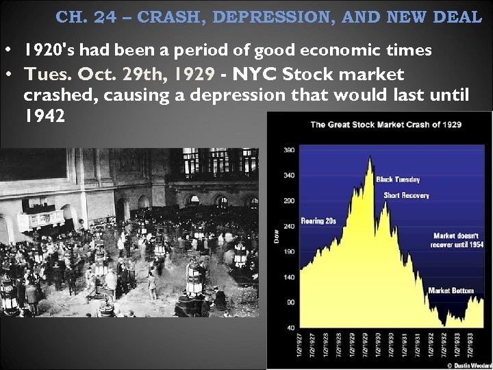 CH. 24 – CRASH, DEPRESSION, AND NEW DEAL • 1920's had been a period