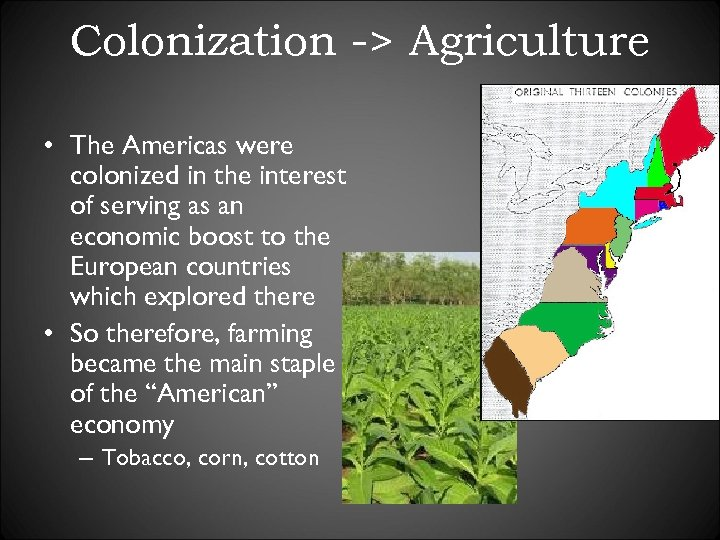 Colonization -> Agriculture • The Americas were colonized in the interest of serving as