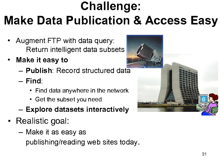 Challenge: Make Data Publication & Access Easy • Augment FTP with data query: Return