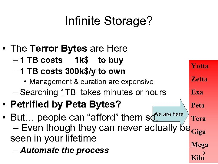Infinite Storage? • The Terror Bytes are Here – 1 TB costs 1 k$