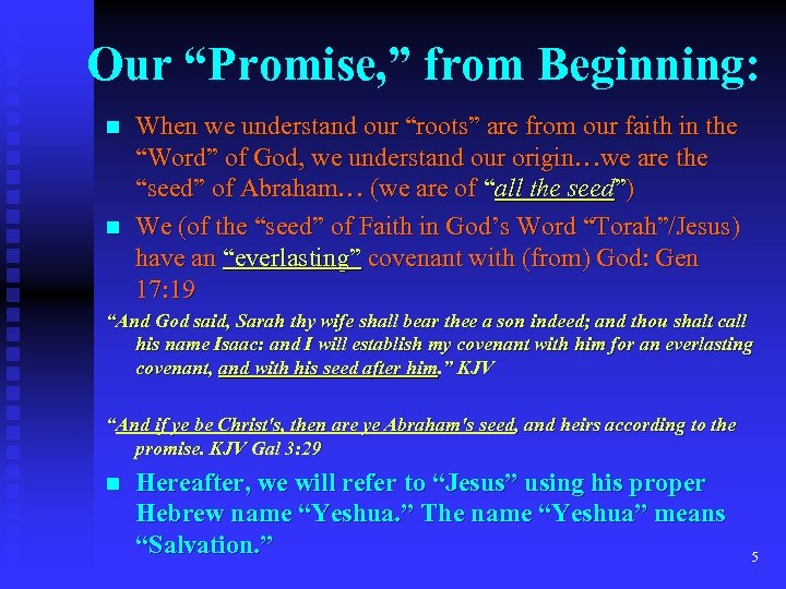 "Our ""Promise, "" from Beginning: n n When we understand our ""roots"" are from"