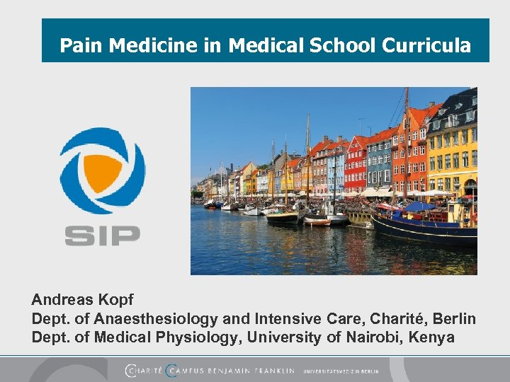 Pain Medicine in Medical School Curricula Andreas Kopf Dept. of Anaesthesiology and Intensive Care,