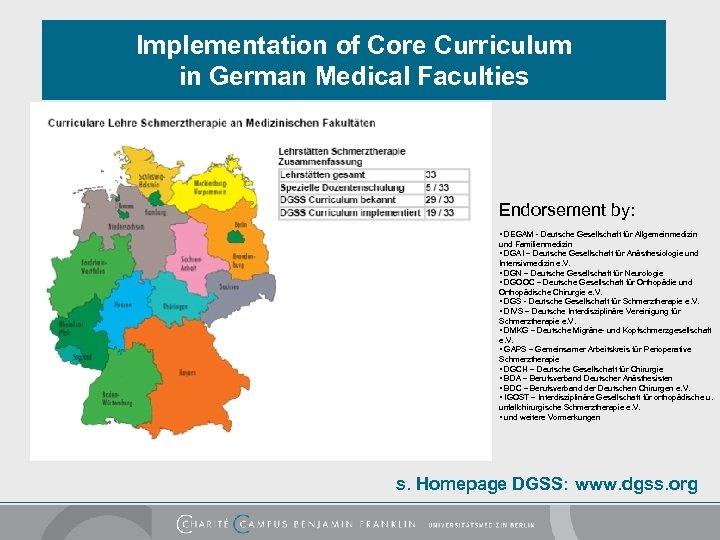 Implementation of Core Curriculum in German Medical Faculties Endorsement by: • DEGAM - Deutsche