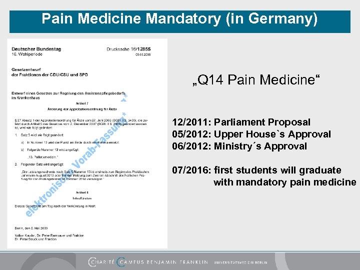 "Pain Medicine Mandatory (in Germany) ""Q 14 Pain Medicine"" 12/2011: Parliament Proposal 05/2012: Upper"