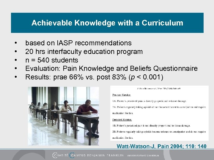 Achievable Knowledge with a Curriculum • • • based on IASP recommendations 20 hrs