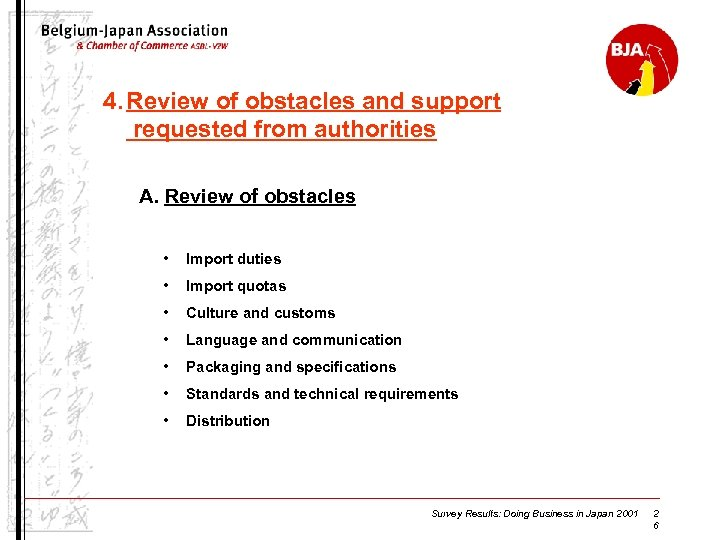 4. Review of obstacles and support requested from authorities A. Review of obstacles •