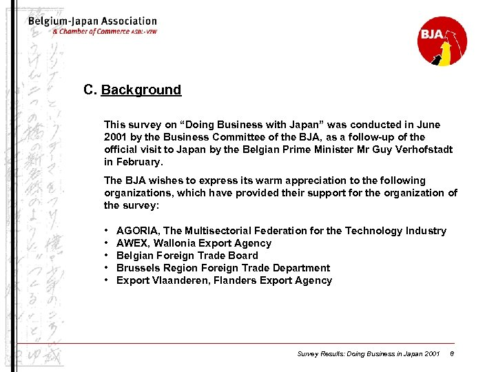 "C. Background This survey on ""Doing Business with Japan"" was conducted in June 2001"