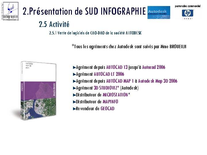 2. Présentation de SUD INFOGRAPHIE 2. 5 Activité 2. 5. 1 Vente de logiciels
