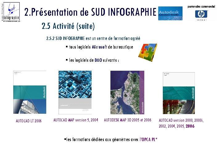2. Présentation de SUD INFOGRAPHIE 2. 5 Activité (suite) 2. 5. 2 SUD INFOGRAPHIE