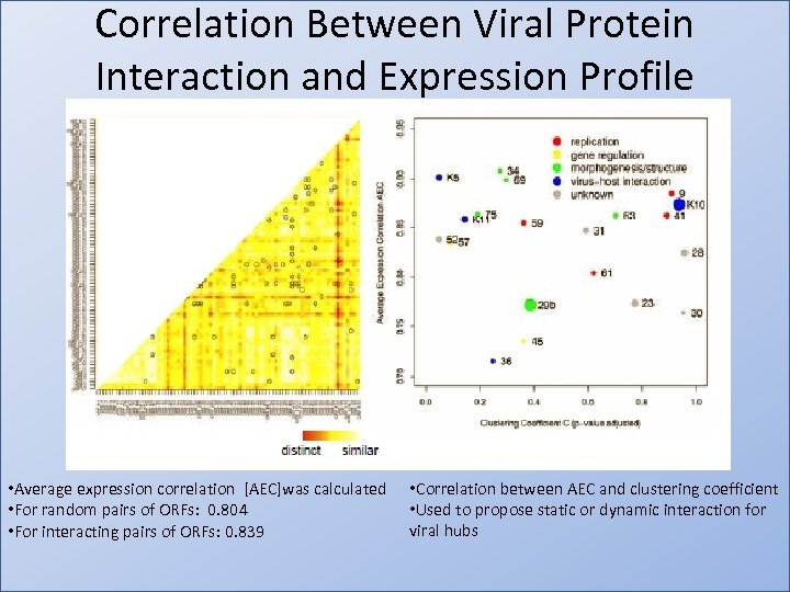 Correlation Between Viral Protein Interaction and Expression Profile • Average expression correlation [AEC]was calculated