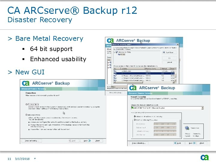 CA ARCserve® Backup r 12 Disaster Recovery > Bare Metal Recovery § 64 bit