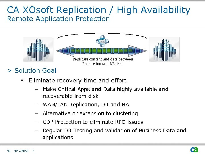 CA XOsoft Replication / High Availability Remote Application Protection Replication & Failover Replicate content