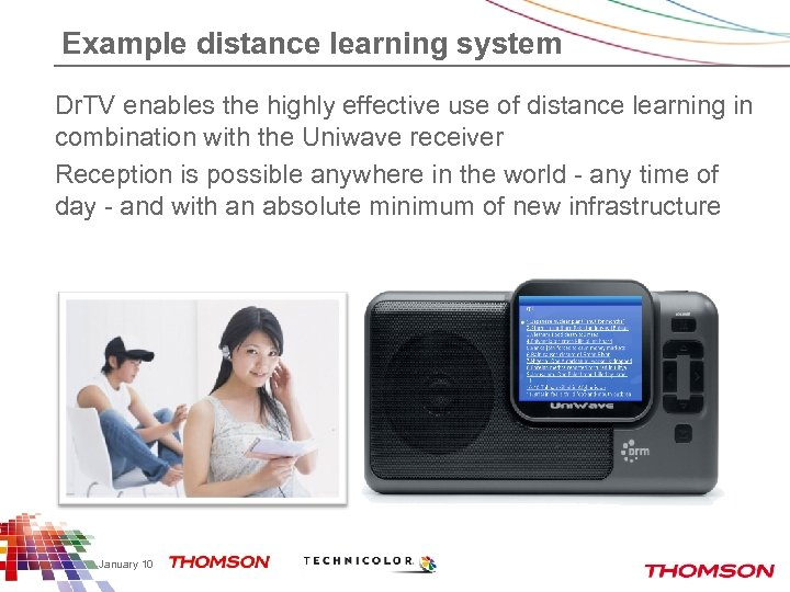 Example distance learning system Dr. TV enables the highly effective use of distance